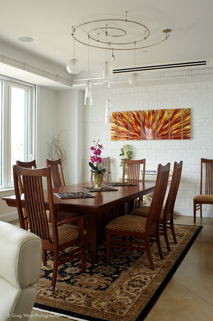 Custom Track Lighting Accents The Dining Econtemporary Room Boston