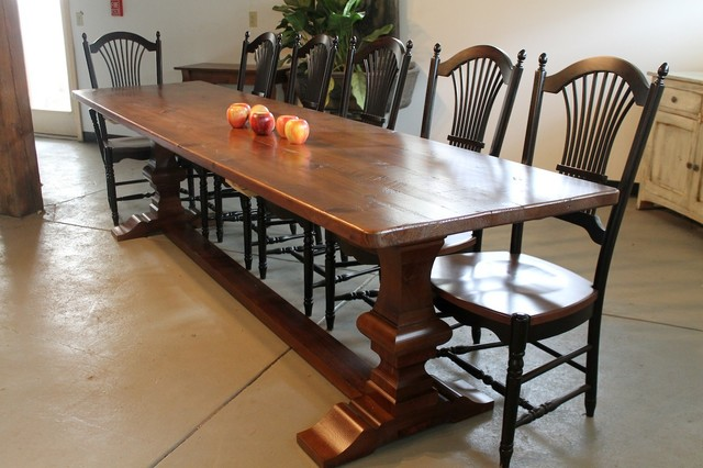 Amazing Custom Trestle Farm Table Farmhouse Dining Room