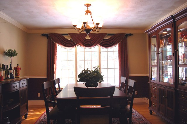 Custom Triple Overlapping Pole Swags And Panels Traditional Dining Room Part 8