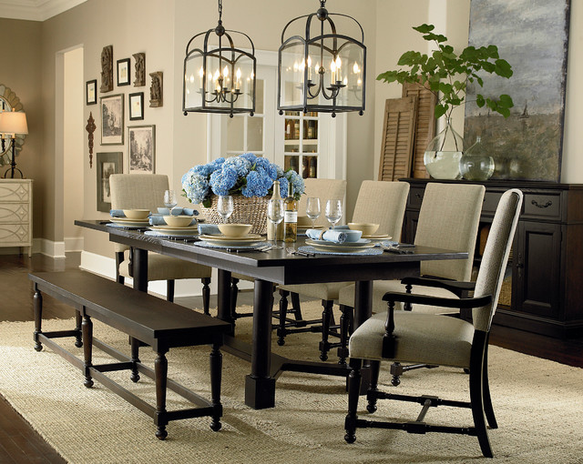 Custom Turned Post Dining Table By Bassett Furniture Contemporary Room