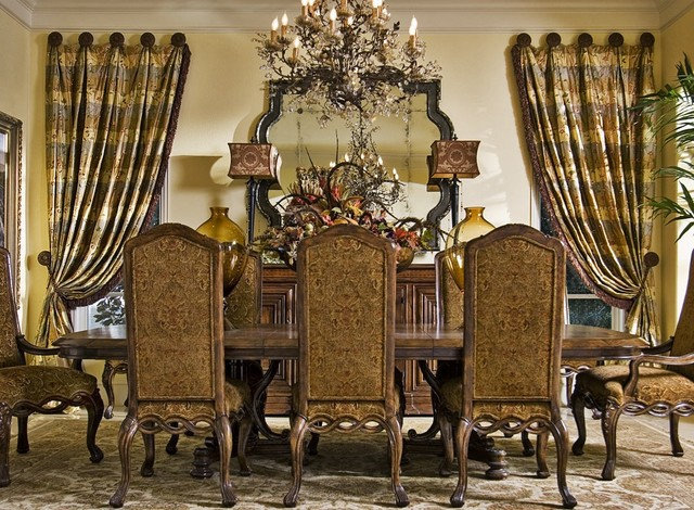 Custom window treatments traditional dining room new for Formal dining room window treatments