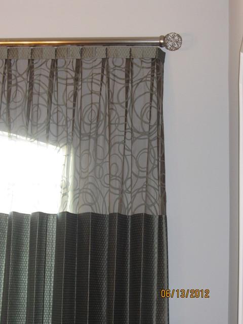 Custom window treatments creative use of sheer fabric for Modern dining room window treatments
