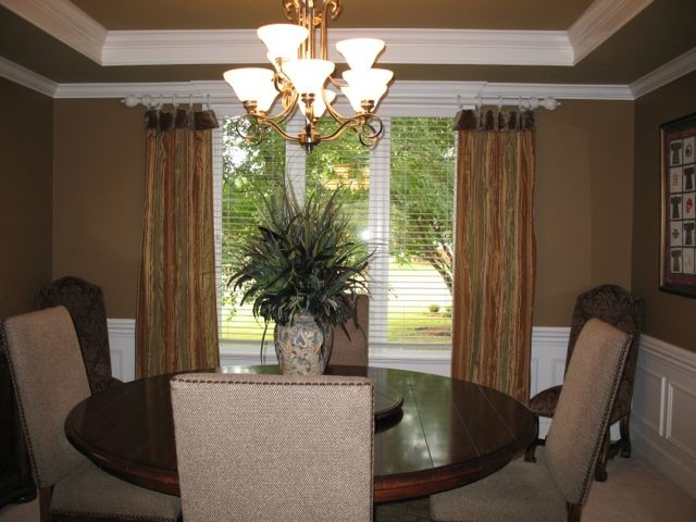 Custom window treatments traditional dining room for Traditional window treatments living room