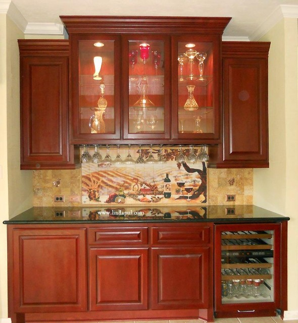 Custom Wine Cabinet & Butlers pantry with backsplash traditional