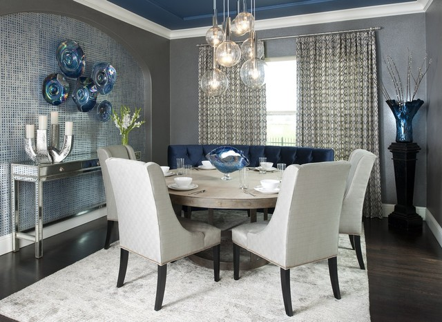 Dallas rugs used in decor contemporary dining room for Modern dining room curtains