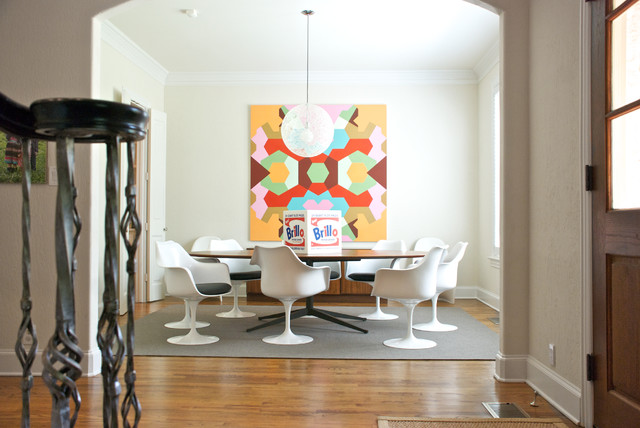 Inspiration for a contemporary dark wood floor dining room remodel in Dallas with white walls