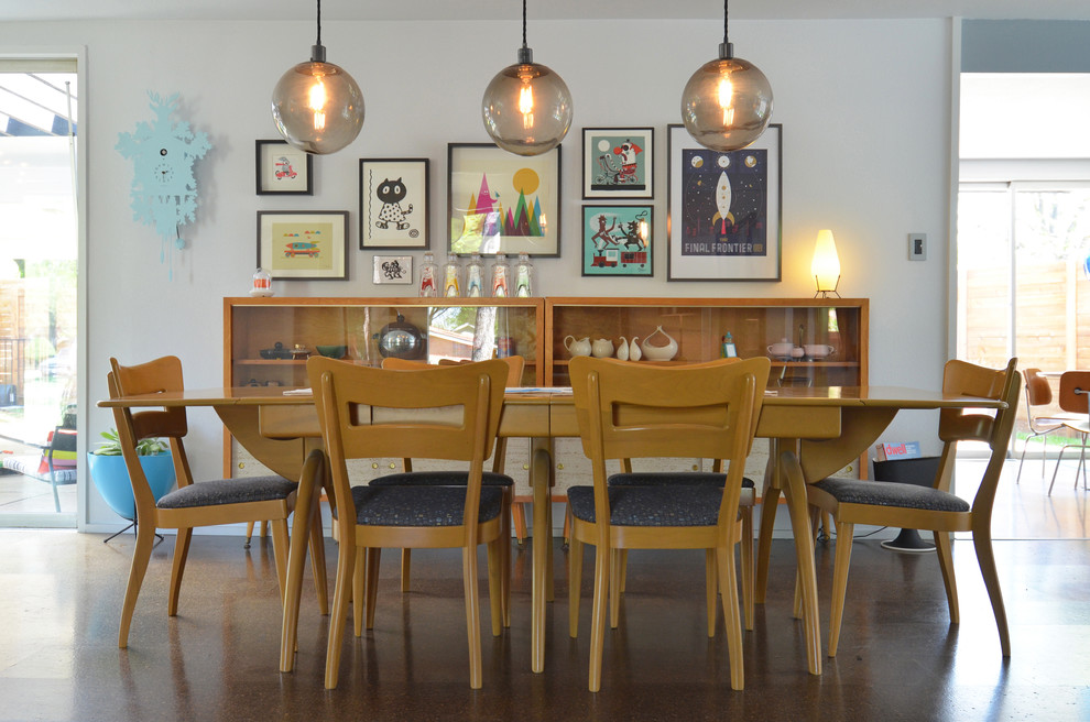 1960s dining room photo in Dallas with white walls