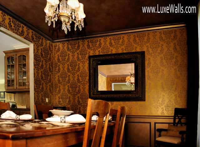 Damask Stencil Dining Room Traditional Dining Room