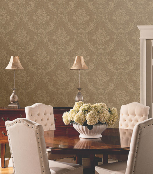 Damask Wallpaper - Traditional - Dining Room - Boston - by Brewster ...