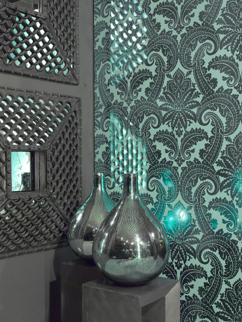 Damask Wallpaper - Modern - Dining Room - other metro - by Brewster ...