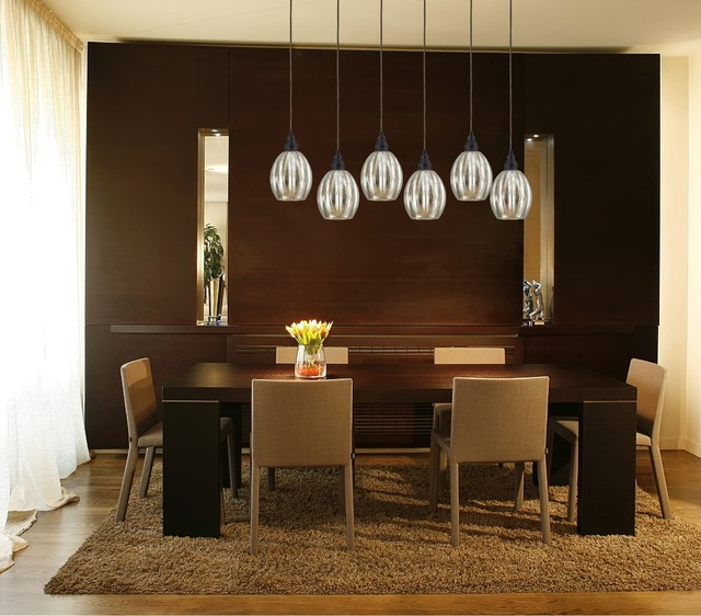 Danica 6 light bronze linear pendant with mercury glass for Dining room pendant lights