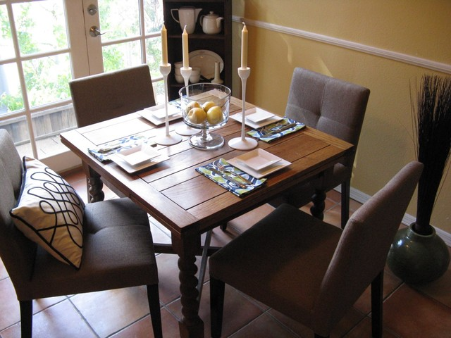 Danish Modern Place Setting on Antique Pine Table II eclectic dining room