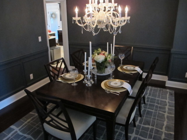 dark blue dining room transitional dining room