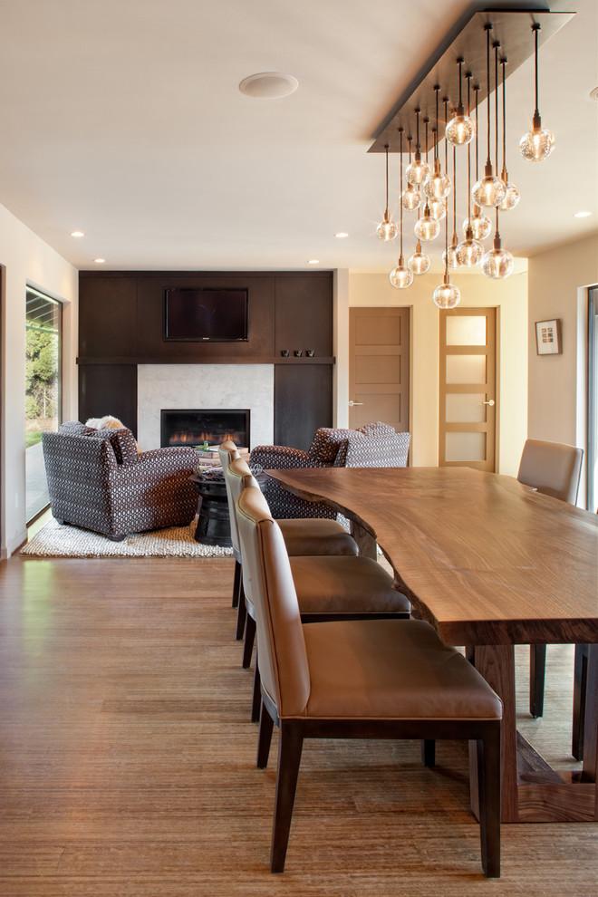 Great room - contemporary great room idea in Portland