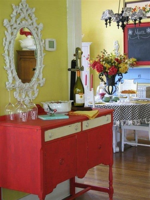 Colorful Cottage Decorating Ideas in red,yellow,blue,black & white on black kitchen tile, vintage yellow counter tops, vintage yellow ceramic floor tile, vintage bathrooms tile, art deco kitchen tile, purple kitchen tile, vintage yellow linoleum, gold kitchen tile, vintage yellow bathroom,