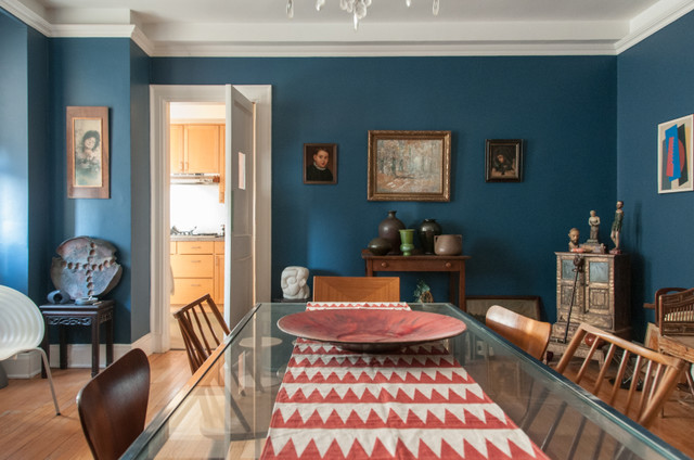 Deep Blue Dining Room eclectic dining room  Eclectic New York by Amy