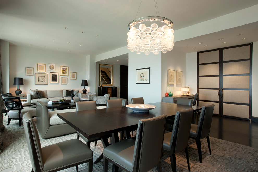 Trendy dark wood floor dining room photo in Chicago with white walls