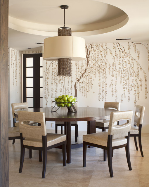 Dining room - contemporary dining room idea in Denver with multicolored walls