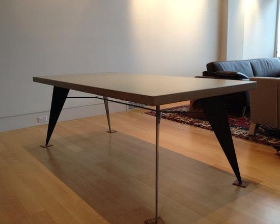 Design - Custom table, Concrete top with a custom metal base design,