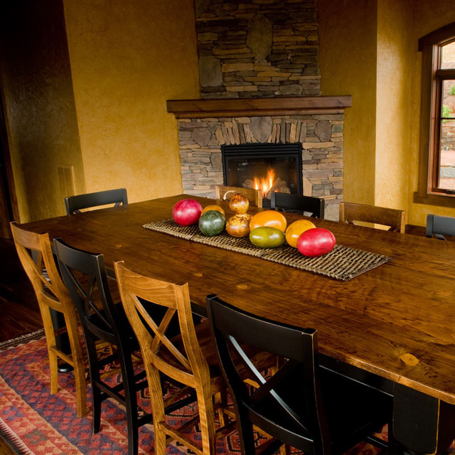 Designs in Wood Pine and Black Farm Dining Table contemporary-dining-room