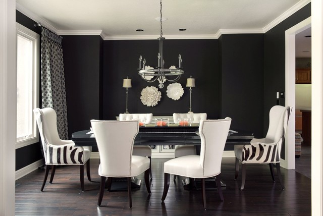 Inspiration for a transitional dark wood floor and brown floor dining room  remodel in Kansas City
