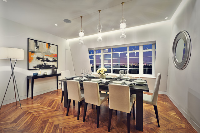 Small trendy dining room photo in London