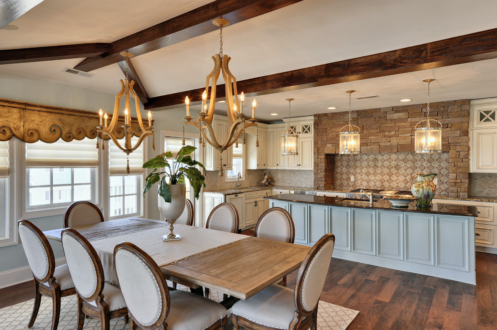 Kitchen/dining room combo - traditional dark wood floor kitchen/dining room combo idea in Philadelphia with blue walls