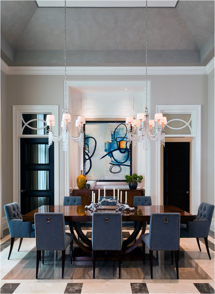 Inspiration for a timeless enclosed dining room remodel in Miami with beige walls and no fireplace