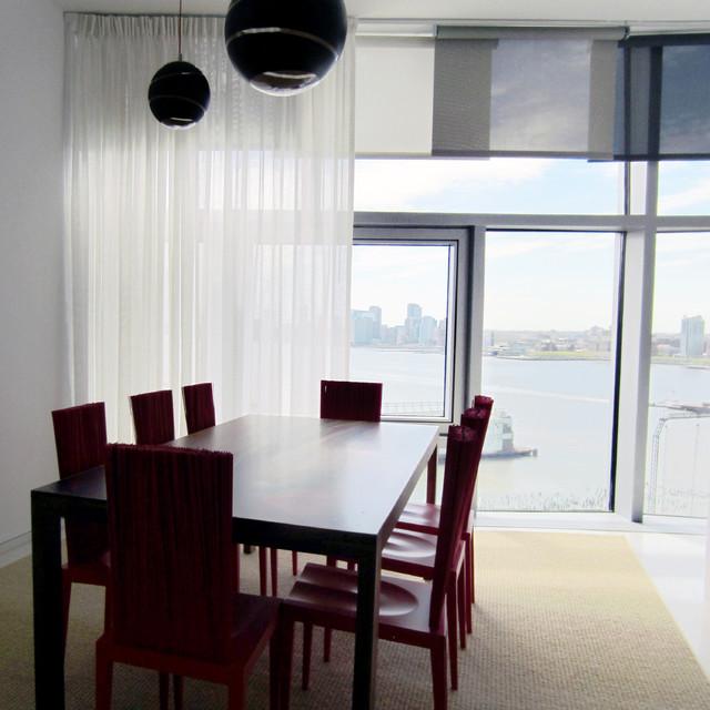 Dining area window treatments modern dining room for Modern dining room window treatments