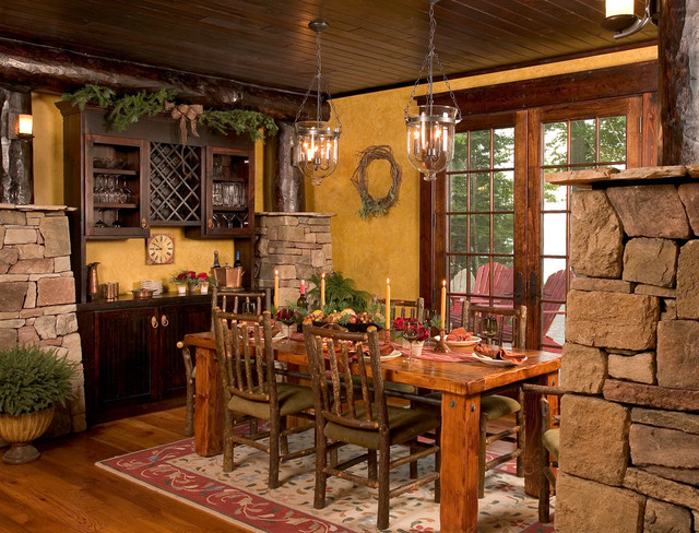 The homespun charm of your childhood cabin can translate for Rustic dining room