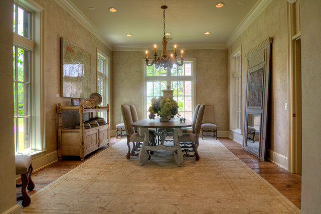 Dining Rom with Faux Plaster and Embedded Stencil Pattern modern-dining-room