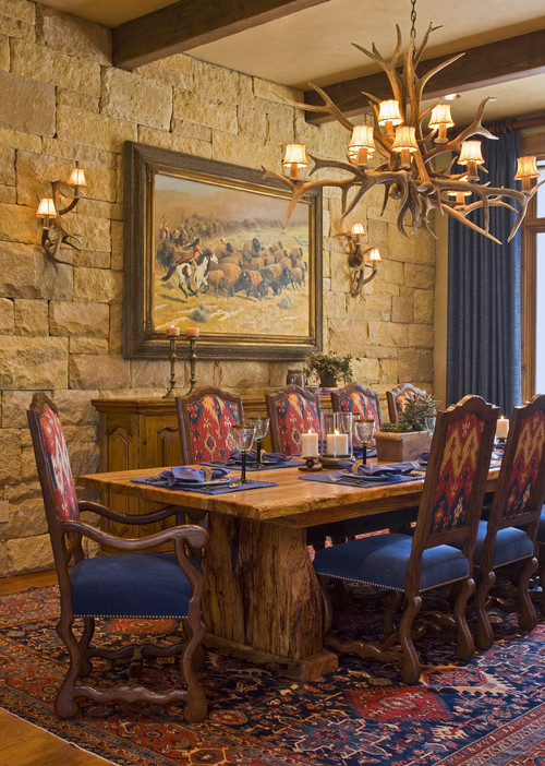 Traditional Dining Room with Stag Horn Chandelier