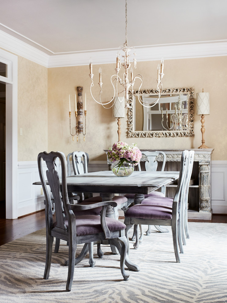 Dining room - french country dark wood floor and brown floor dining room idea in Richmond with beige walls