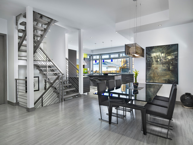 Dining Room and Stairs - Contemporary - Dining Room - edmonton - by Habitat Studio