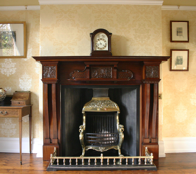 Dining room antique mahogany fireplace and grate hale for Traditional dining room fireplace
