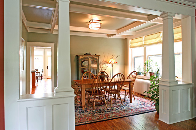 Dining rooms with columns room ornament for Craftsman columns