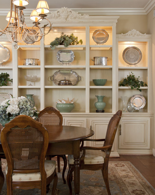 Dining room built in provides display and storage traditional dining