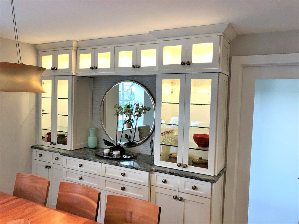 Dining room built in sideboard with glass display case for ...