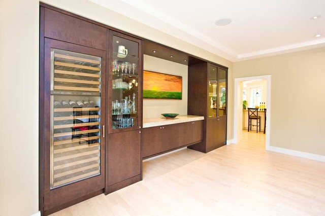Dining room built-in with wine refrigerator, ceiling detail contemporary-dining-room