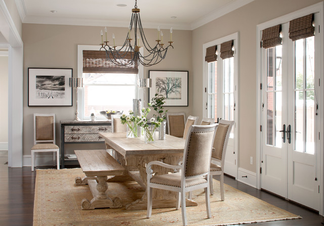 Example Of A Classic Dark Wood Floor Dining Room Design In Denver With  Beige Walls Part 21