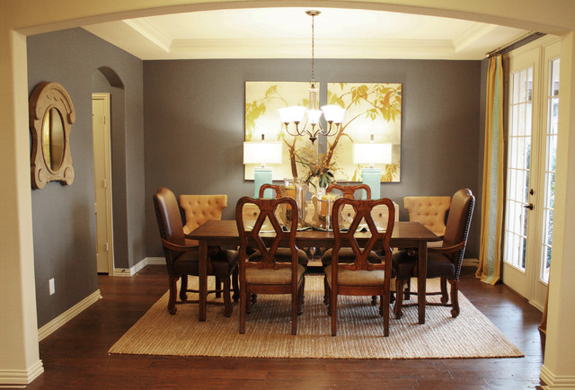 Elegant dark wood floor dining room photo in Dallas with gray walls. Wall Color For Dining Room   Houzz