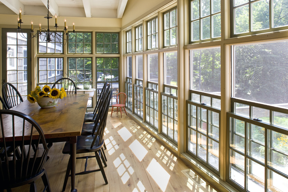 Inspiration for a timeless light wood floor dining room remodel in Philadelphia with beige walls
