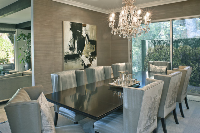 Attractive Inspiration For A Contemporary Enclosed Dining Room Remodel In Los Angeles  With Gray Walls