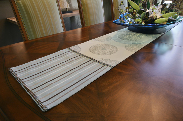Dining Room Drapes And Table Runner Transitional