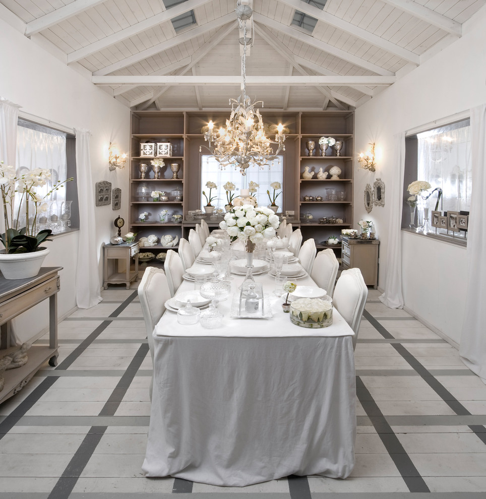 Inspiration for a shabby-chic style painted wood floor and multicolored floor dining room remodel in Other