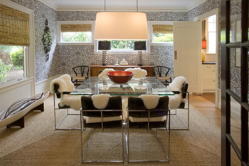 Example of a minimalist medium tone wood floor enclosed dining room design in Portland with multicolored walls