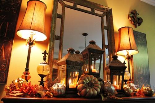 Dining Room Fall Mantle Vignette