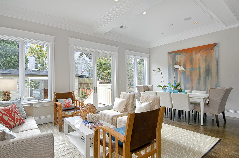 Example of a classic dark wood floor dining room design in San Francisco with gray walls