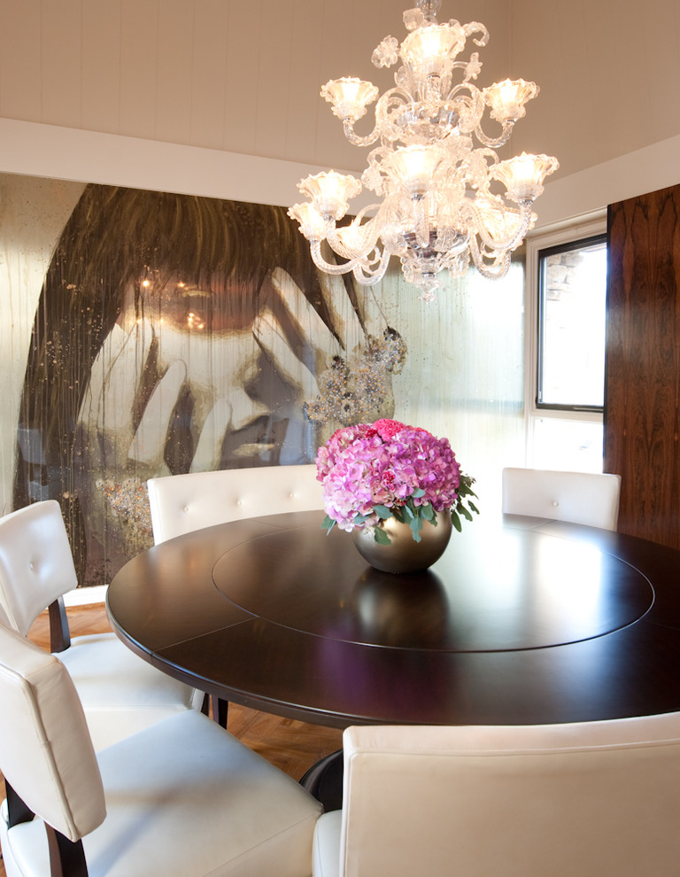 Inspiration for a modern medium tone wood floor dining room remodel in Baltimore with white walls and no fireplace