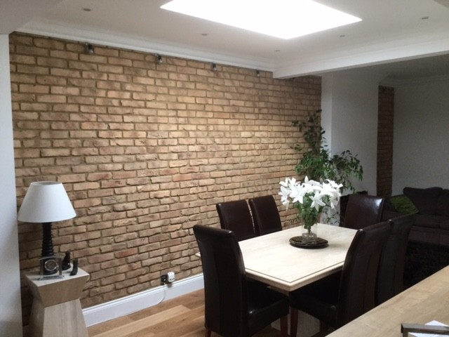 dining room feature wall rustic dining room by kuci